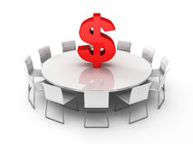 Dollar symbol on conference meeteng table Royalty Free Stock Image