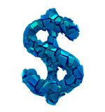 Dollar symbol in a 3D illustration made of broken plastic blue color isolated on a white stock illustration