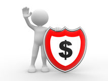 Dollar symbol. 3d people - man , person with  dollar symbol over red  shield Stock Image