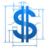 Dollar symbol with dimension lines Royalty Free Stock Photo