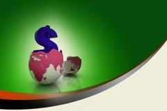 Dollar symbol in egg broken shell Royalty Free Stock Images