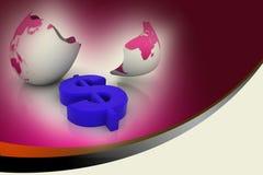 Dollar symbol in egg broken shell Stock Photos