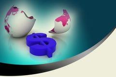 Dollar symbol in egg broken shell Royalty Free Stock Photography