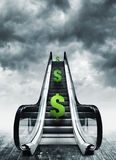 Dollar symbol on escalators Stock Images