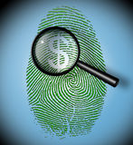 Dollar Symbol in fingerprint inspection. Dollar Symbol in fingerprint under inspection Stock Photo