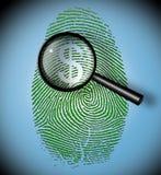 Dollar Symbol in fingerprint inspection. Dollar Symbol in fingerprint under inspection Stock Photo