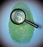 Dollar Symbol in fingerprint inspection. Dollar Symbol in fingerprint under inspection Royalty Free Stock Photography