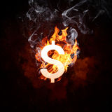 Dollar symbol in fire flames Royalty Free Stock Images