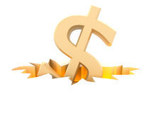 Dollar symbol in fracture Stock Photography