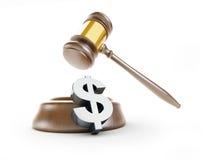 Dollar symbol gavel. On a white background Stock Photography