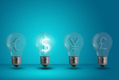 Dollar symbol glow among other light bulb stock images