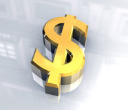 dollar symbol in gold (3D) Royalty Free Stock Photo