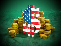 Dollar symbol and gold coins stack Stock Photo