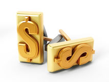 Dollar symbol on golden cufflinks Royalty Free Stock Image