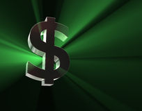 Dollar symbol in green lights Stock Image