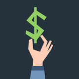 Dollar symbol in hand Stock Photo