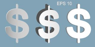 The dollar symbol has three types. Dollars sign illustration. USD currency symbol. Money label. Set of symbols from various materials on a gray background Stock Photo