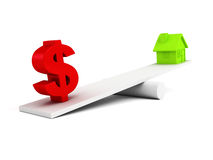 Dollar symbol and house icon on scale balance Royalty Free Stock Images