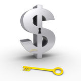 Dollar symbol with keyhole and key on the ground. 3d dollar symbol with keyhole and a golden dollar-key on the ground Stock Image