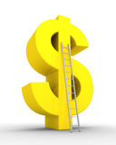Dollar symbol and a ladder. 3d dollar symbol and a ladder leaning to it Stock Photo