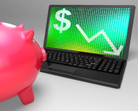 Dollar Symbol On Laptop Shows American Monetary Risks Stock Photo