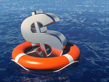 Dollar symbol with life buoy in water. Stock Photos