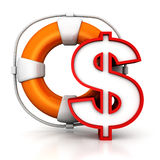 Dollar symbol with lifebuoy as financial concept. 3d Royalty Free Stock Photos