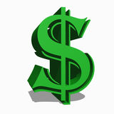 Dollar symbol. In light green 3d Stock Photography