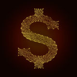 The dollar symbol of the line Stock Photo