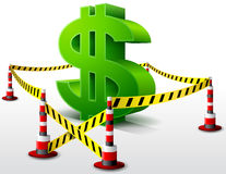 Dollar symbol located in restricted area Royalty Free Stock Photo