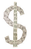 The dollar symbol is made of banknotes Stock Image