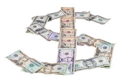 Dollar symbol made of dollar banknotes Stock Photos