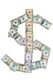 Dollar symbol made of dollar banknotes Royalty Free Stock Photography