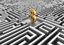 Dollar symbol in a maze Royalty Free Stock Images