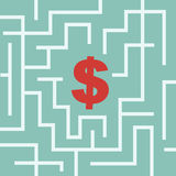 Dollar symbol in the maze Royalty Free Stock Images