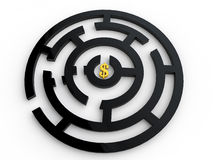 Dollar symbol in maze Stock Photos