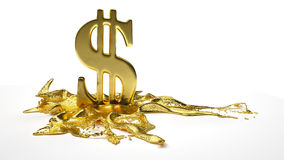 Dollar symbol melts into liquid gold. path Royalty Free Stock Photography