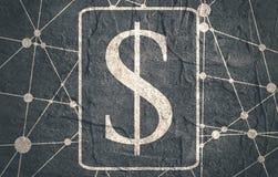 Dollar Symbol on Molecule And Communication Background. Stock Images