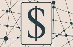 Dollar Symbol on Molecule And Communication Background. Royalty Free Stock Image