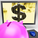 Dollar Symbol On Monitor Shows American Success Stock Photos