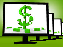 Dollar Symbol On Monitor Shows Investment Stock Images