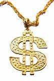 Dollar symbol necklace. On white royalty free stock photo