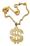 Dollar symbol necklace. Isolated on white stock photo