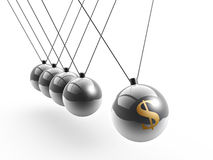 Dollar symbol on newton's cradle Stock Images