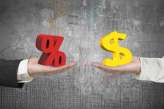 Dollar symbol and percentage sign with two hands Royalty Free Stock Photo