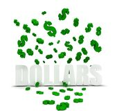 Dollar symbol raining over dollars Royalty Free Stock Image