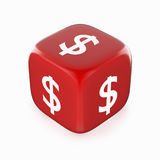 Dollar symbol on red dice. White dollar currency symbol on red dice. 3D image royalty free illustration