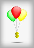 Dollar symbol with red gren yellow balloons Royalty Free Stock Images