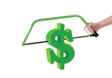 Dollar symbol sawn Stock Images