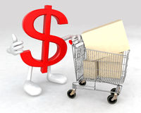 Dollar symbol with a shopping cart Royalty Free Stock Photo